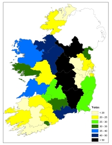 Seanad voters (vocational panel) per constituency, 2011 - sorry, map involves 2007 constituency boundaries