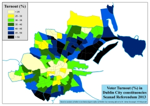Figure 2: Voter turnout (%) at the electoral area at the 2013 Seanad Referendum for the Dublin City constituencies