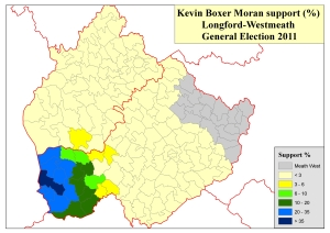 "Figure 1: Support levels for Kevin ""Boxer"" Moran at the 2011 General Election (based on analysis by Adrian Kavanagh of tally figures published in local newspapers after the election)"