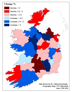 Figure 4: Change in Fianna Fail support (%) at local authority level between the 2009 and 2014 Local Elections