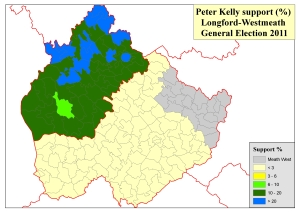 Figure 4: Support by electoral division for Peter Kelly in the Longford-Westmeath constituency at the 2011 General Election (based on analysis of tallies in local newspapers by Adrian Kavanagh)