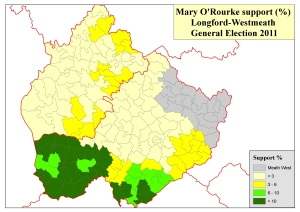 Figure 3: Support by electoral division for Mary O'Rourke in Longford-Westmeath at the 2011 General Election (based on analysis of tallies in local newspapers by Adrian Kavanagh)