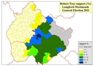 Figure 2: Support for Robert Troy in Longford-Westmeath constituency at 2011 General Election (based on analysis of tallies in local newspapers by Adrian Kavanagh)