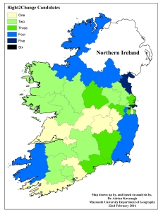 Figure 3e: Right2Change candidates by Dail constituency (2016 General Election)