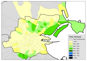 Figure 3: Voter turnout (%) levels by electoral division in the Dublin City constituencies for the 2013 Seanad Referendum